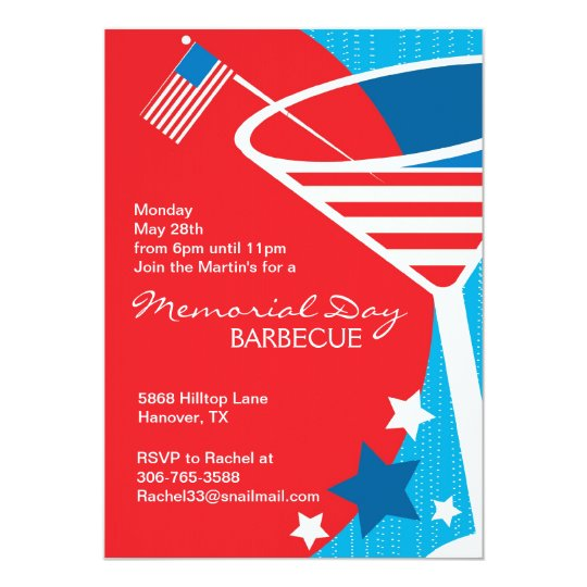 Stars and Stripes Martini Theme Party Invitations