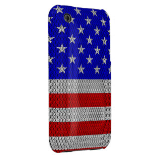 Stars and Stripes Metal Plate Effect iPhone 3 Case-Mate Cases