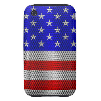 Stars and Stripes Metal Plate Effect iPhone 3 Tough Cover