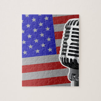Stars And Stripes Microphone Jigsaw Puzzle