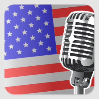 Stars And Stripes Microphone Square Sticker
