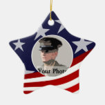 Stars and Stripes/ Military Prayer Double-Sided Star Ceramic Christmas Ornament
