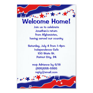 Stars and Stripes Military Welcome Home 3.5x5 Paper Invitation Card