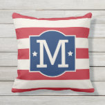 "Stars and Stripes Monogram | Patriotic Throw Pillow<br><div class=""desc"">Patriotic pillow design features a decorative frame with custom monogram initial,  star accents,  and horizontal stripes. Navy blue,  red,  and soft white colors.</div>"