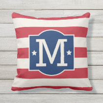 Stars and Stripes Monogram | Patriotic Throw Pillow