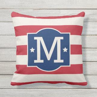 Stars and Stripes Monogram   Patriotic Throw Pillow