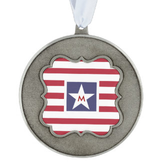 Stars and Stripes Monogram Stylized Pewter Ornament
