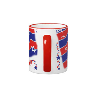 Stars and Stripes Monogrammed Ringer Mug