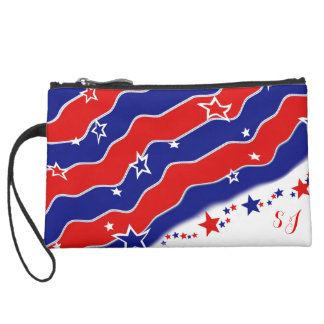 Stars and Stripes Monogrammed Suede Wristlet