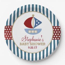 Stars and Stripes Nautical Baby Shower Paper Plate