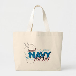 Stars and Stripes Navy Mom T-shirt Large Tote Bag