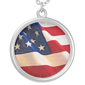 Stars and Stripes Old Glory American Flag Round Pendant Necklace
