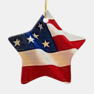 Stars and Stripes Old Glory American Flag Double-Sided Star Ceramic Christmas Ornament
