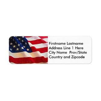Stars and Stripes Old Glory American Flag Return Address Label