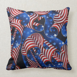Stars and Stripes Patriotic Curls Throw Pillow