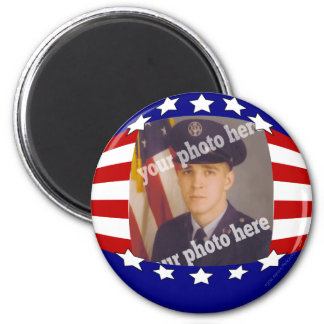 Stars and Stripes Patriotic Custom Photo Red White 2 Inch Round Magnet