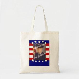 Stars and Stripes Patriotic Custom Photo Red White Budget Tote Bag