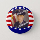 Stars and Stripes Patriotic Custom Photo Red White Pinback Button