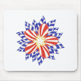 Stars and Stripes Patriotic Flower Mousepads