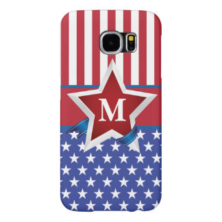 Stars and Stripes Patriotic Monogram Samsung Galaxy S6 Cases