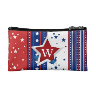 Stars and Stripes Patriotic Monogrammed Cosmetic Bags
