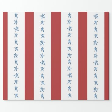 USA Themed Stars and Stripes Patriotic Wrapping Paper