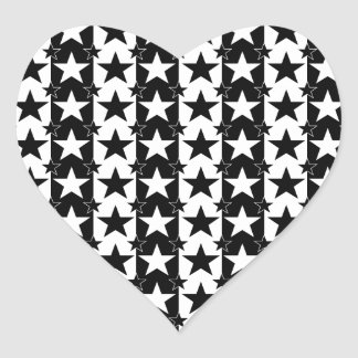 Stars and Stripes Pattern 2 Black and White Heart Sticker