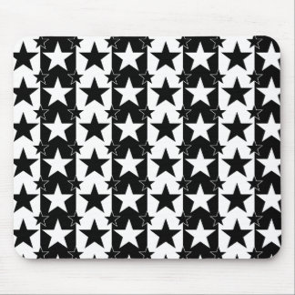 Stars and Stripes Pattern 2 Black and White Mouse Pad