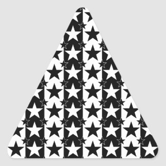 Stars and Stripes Pattern 2 Black and White Triangle Sticker