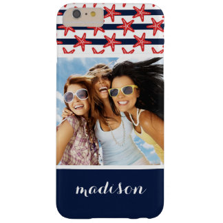 Stars And Stripes Pattern | Your Photo & Name Barely There iPhone 6 Plus Case