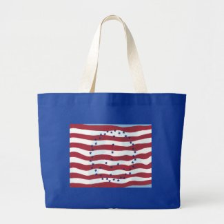 Stars and Stripes Peace Sign Flag Canvas Bags