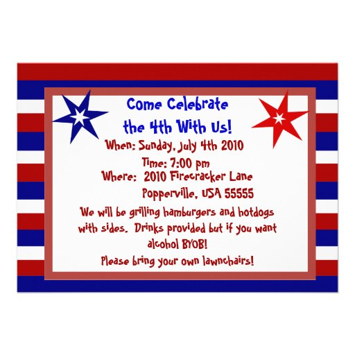 Stars and Stripes Personalized Fourth of July Announcements