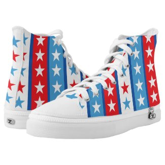 Stars and Stripes Red White Blue Printed Shoes