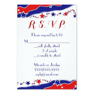 "Stars and Stripes RSVP 3.5"" X 5"" Invitation Card"