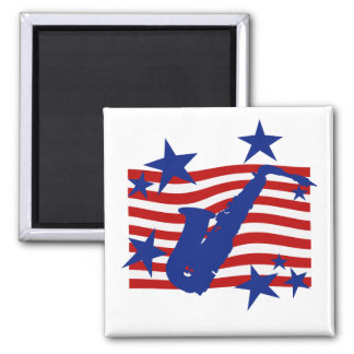 Stars and Stripes Saxophone 2 Inch Square Magnet