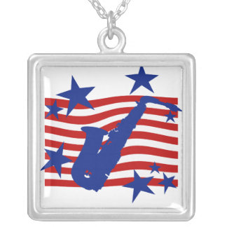 Stars and Stripes Saxophone Square Pendant Necklace