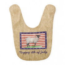 Stars and Stripes Sheep Baby Bib