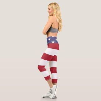 Stars And Stripes USA America Flag Pattern Capri Leggings