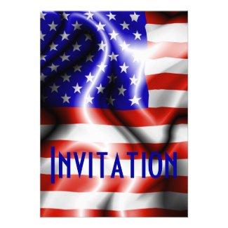 Stars and Stripes USA Flag invitation card
