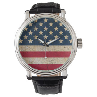 Stars and Stripes USA Flag Leather Strap Watch