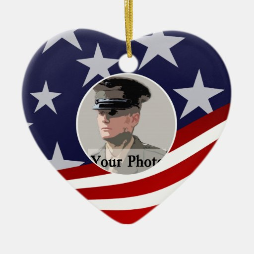Stars and Stripes USA /  Military Prayer Double-Sided Heart Ceramic Christmas Ornament