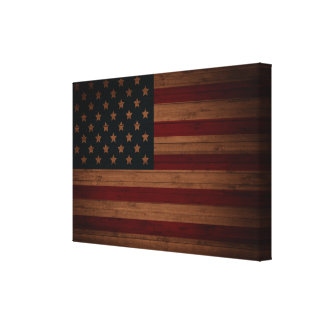 Stars and Stripes (vintage wood U.S. flag) Canvas Print