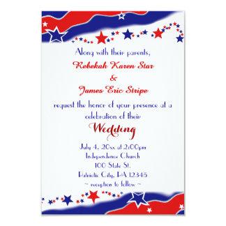 Stars and Stripes Wedding 3.5x5 Paper Invitation Card