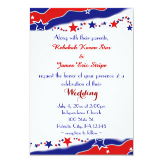 Stars and Stripes Wedding Personalized Invitations