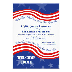 Stars and Stripes Welcome Home Military Invitation