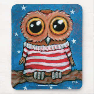 Stars and Stripes Wide Eyed Owl | Whimsical Art Mouse Pad