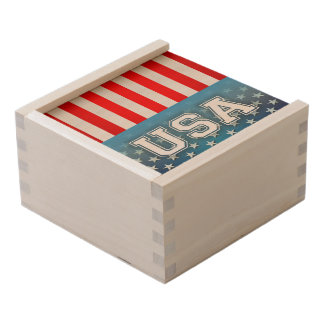 Stars and Stripes Wooden Keepsake Box