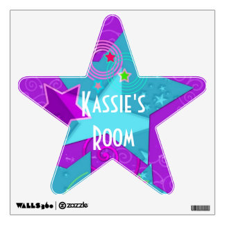 Stars and Swirls Custom Name Colorful Wall Decal