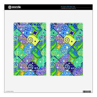 Stars and Swirls Pattern - Blue & Green Decal For Kindle Fire