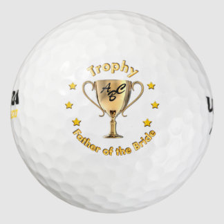 Stars and Trophy for a Trophy 'father of the Bride Golf Balls